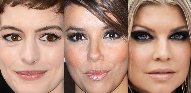 Da esquerda para a direita: Anne Hathaway exibe maquiagem leve; Eva Longoria mostra os olhos delineados com leve esfumado; Fergie adota maquiagem bem marcada