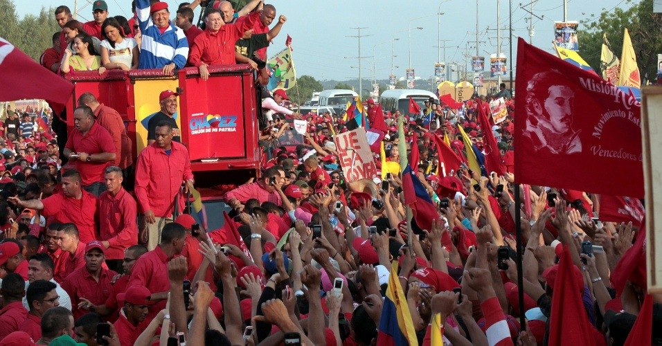 21.jul.2012 - O presidente venezuelano Hugo Ch&#225;vez participou de um desfile como parte de sua campanha para a reelei&#231;&#227;o em Maracaibo, Venezuela