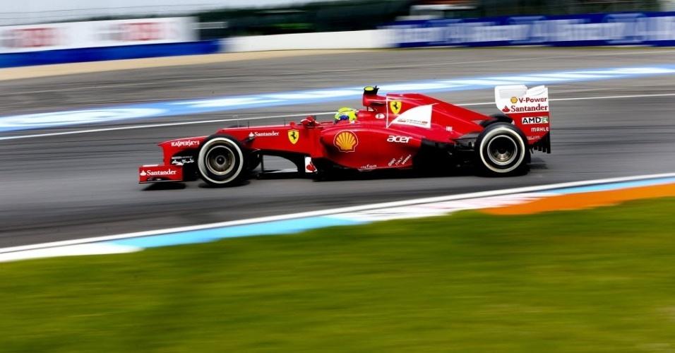 Brasileiro Felipe Massa em ação no sábado de Fórmula 1 na Alemanha