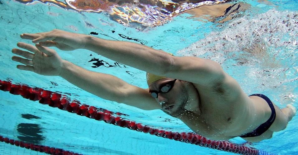 Thiago Pereira, nadador brasileiro, durante sessão de treinos em Crystal Palace