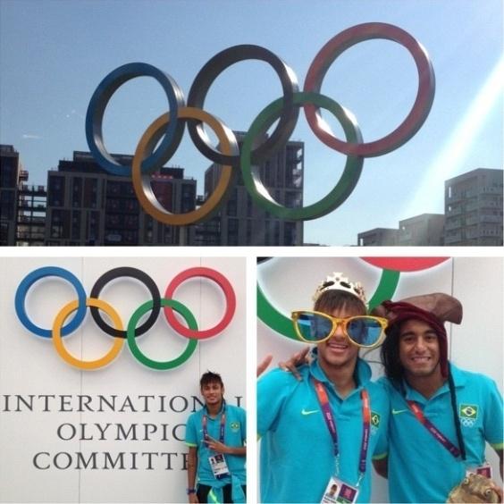 Em sua conta no Twitter, Neymar postou montagem de fotos da visita à Vila Olímpica em Londres