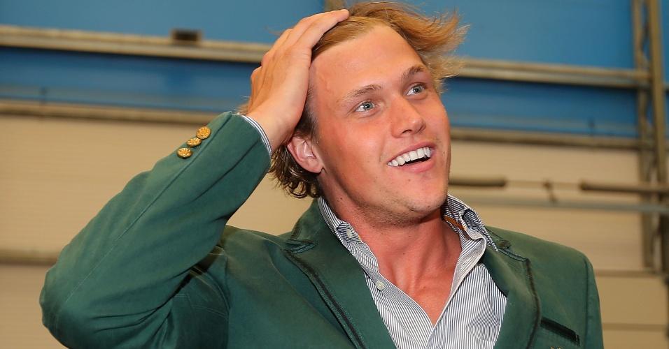 Kenrick Monk, nadador australiano, chega para entrevista coletiva no parque olímpico (23/07/2012)