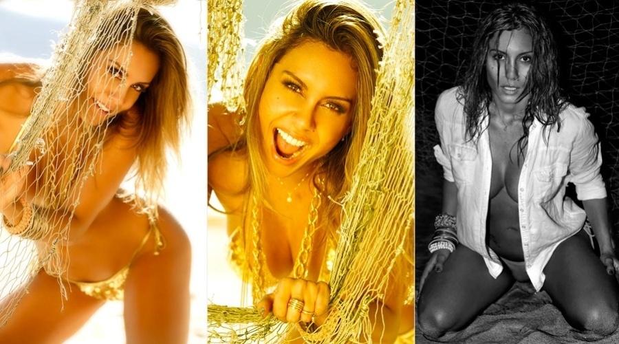 A ex-BBB Lia Khey posou para um calendário. As imagens foram feitas na praia de Maresias, litoral de são Paulo (24/7/12)