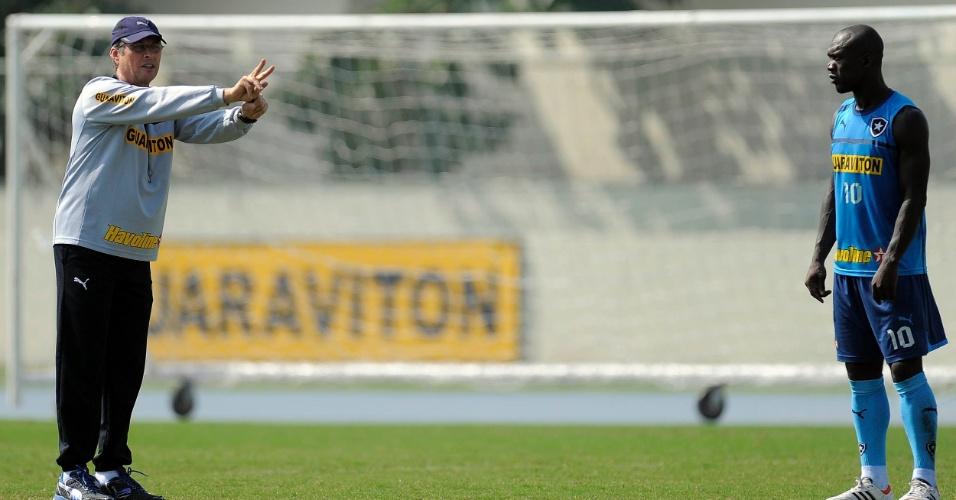 Observado por Seedorf (d), técnico Oswaldo de Oliveira orienta os jogadores em treino do Botafogo (24/07/2012)