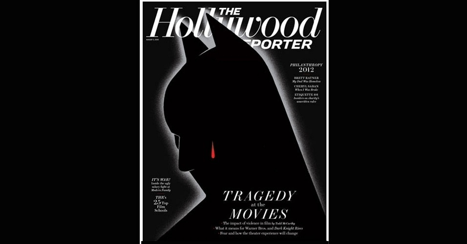 25.jul.2012 - A revista norte-americana &#34;The Hollywood Reporter&#34; divulgou em seu site nesta quarta-feira (25) a capa de sua pr&#243;xima edi&#231;&#227;o, que traz a imagem do personagem Batman chorando uma l&#225;grima de sangue