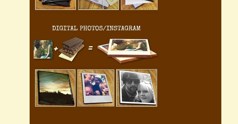 Cocoagraphs. Que tal imprimir fotos digitais em barras de chocolate? As barras Cocoagraphs são comestíveis (mesmo) e feitas à mão. Dá para escolher se você quer de chocolate ao leite, meio amargo ou branco; dá até para imprimir fotos do Instagram. Um pacote com três barras é vendido por US$ 12 e o site tem entrega internacional