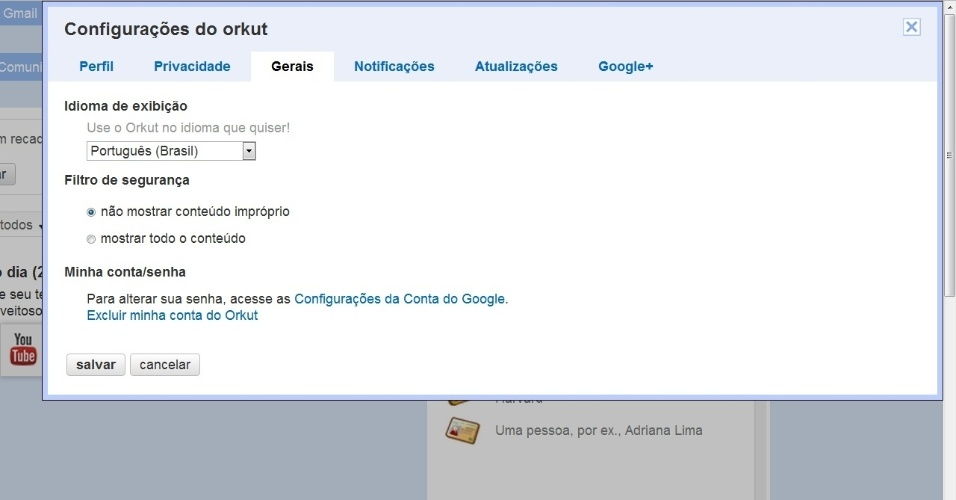 Deletar Orkut