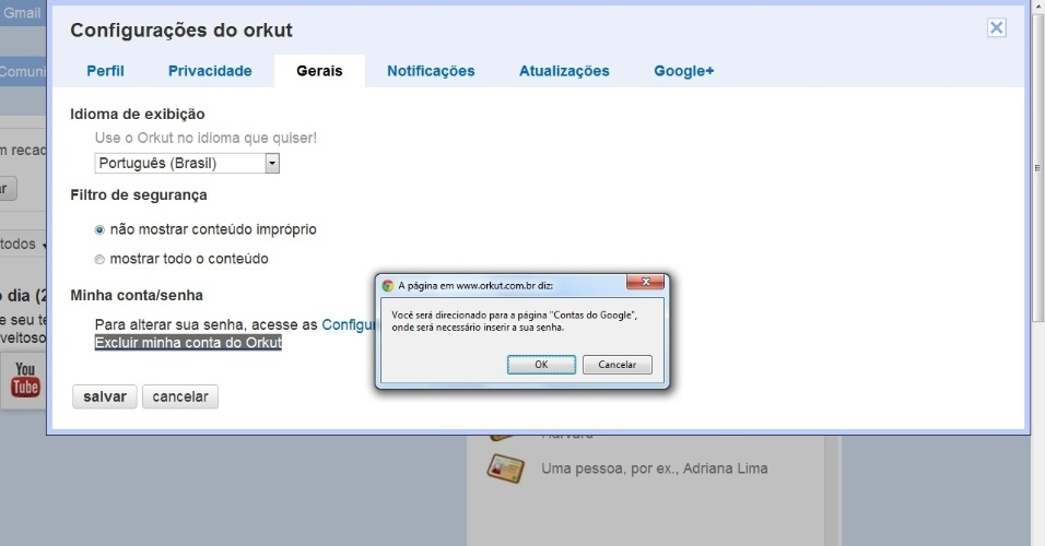 Deletar Orkut