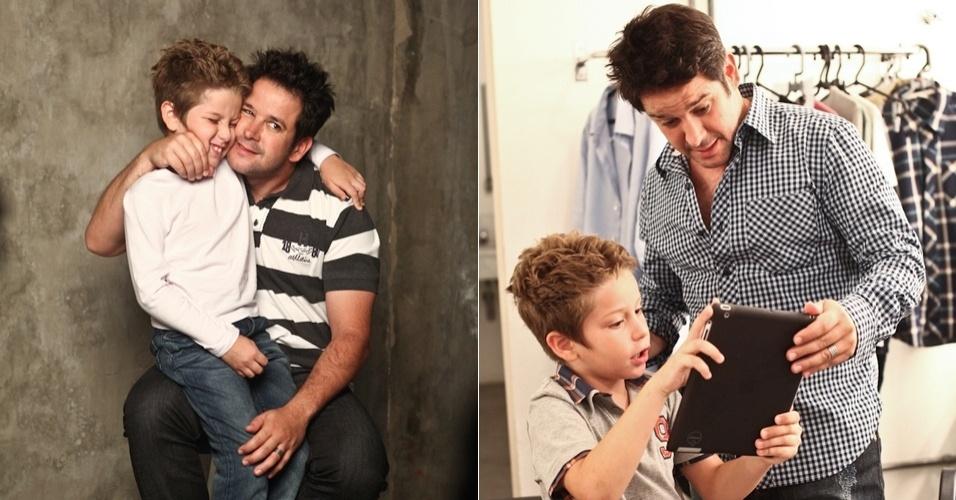 Murilo Benício e o filho Pietro fotografam campanha do Dia dos Pais da Hering