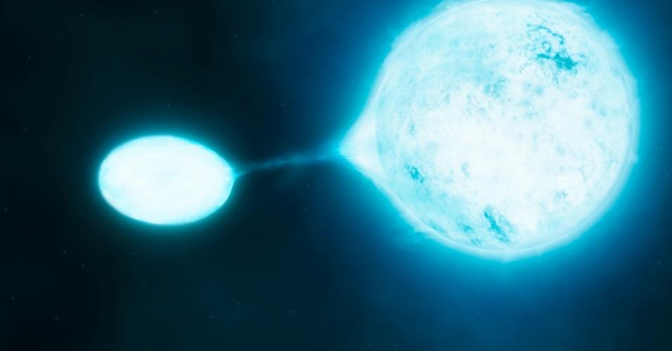 """26.jul.2012 - Concepção artística mostra uma estrela """"vampira"""", que suga matéria da superfície da estrela maior, sua companheira. Estudo feito com ajuda do telescópio VLT, no Chile, mostra que a maior parte das estrelas mais brilhantes e com maior massa do Universo vive em pares, ou seja, são sistemas binários. A quantidade é bem maior que a estimada anteriormente"""