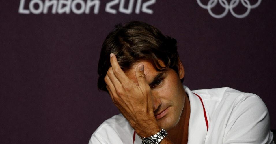 Roger Federer, líder mundial do ranking de tênis, concede entrevista coletiva em Londres (26/07/2012)