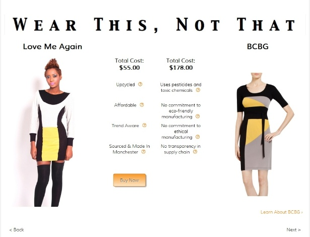 """""""Use isto, não aquilo"""" - Site Fashioning Change sugere que as consumidoras comprem o vestido Love Me Again, em vez do BCBG"""
