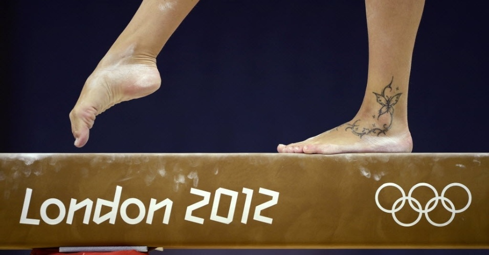 Vanessa Ferrari , da ginástica artística, tem uma delicada borboleta no tornozelo tatuada