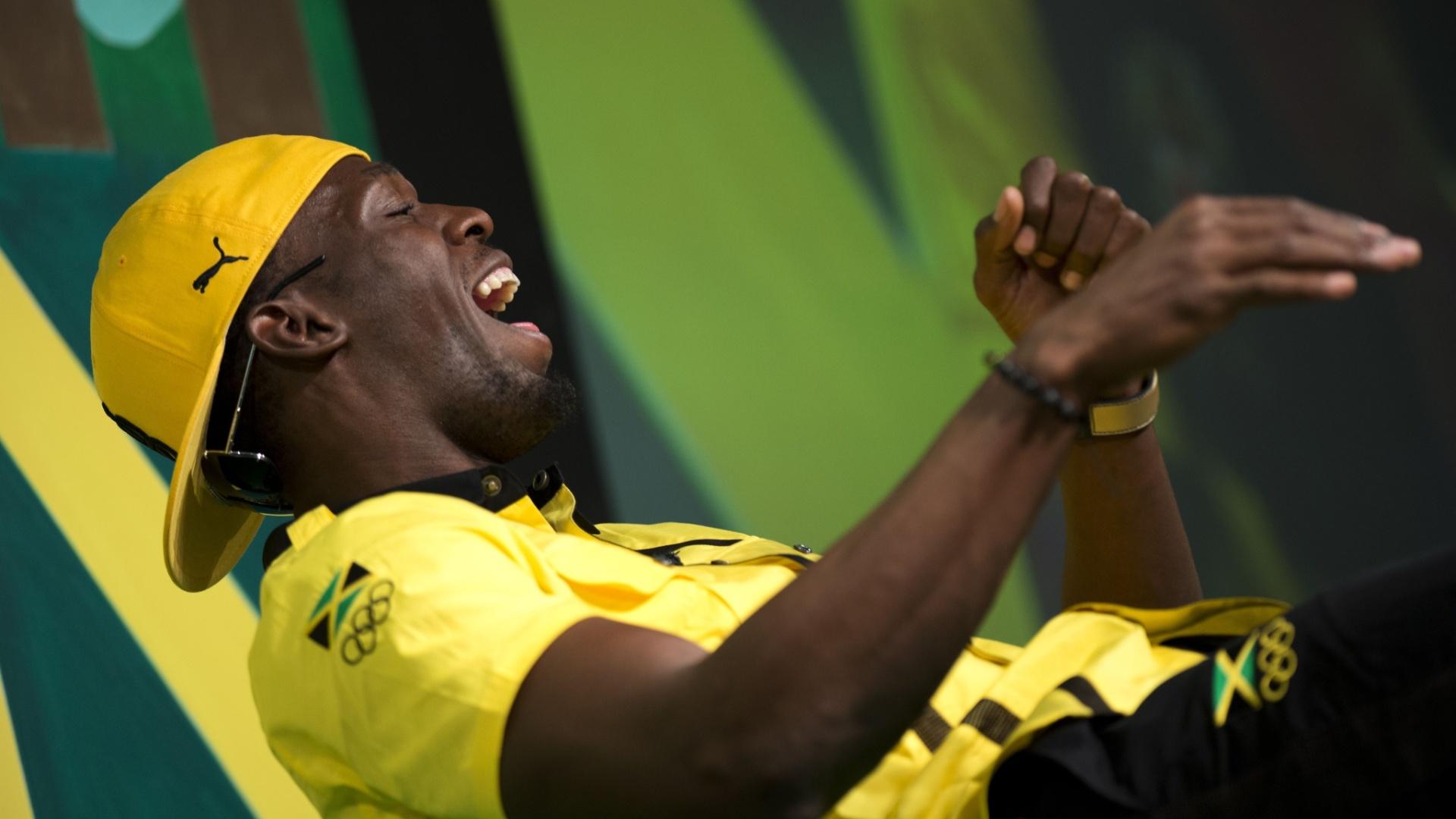 Velocista jamaicano Usain Bolt durante entrevista coletiva em Londres