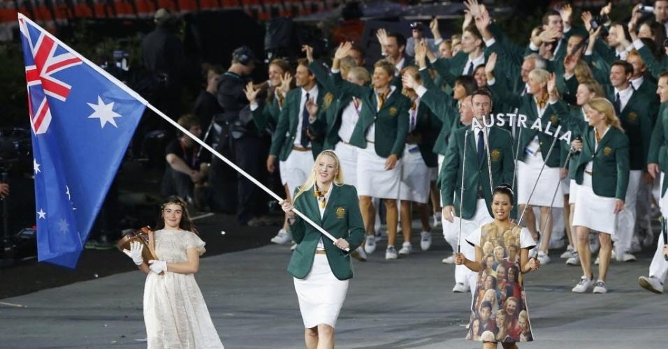 Atletas da Austrália desfilam na abertura das Olimpíadas de Londres