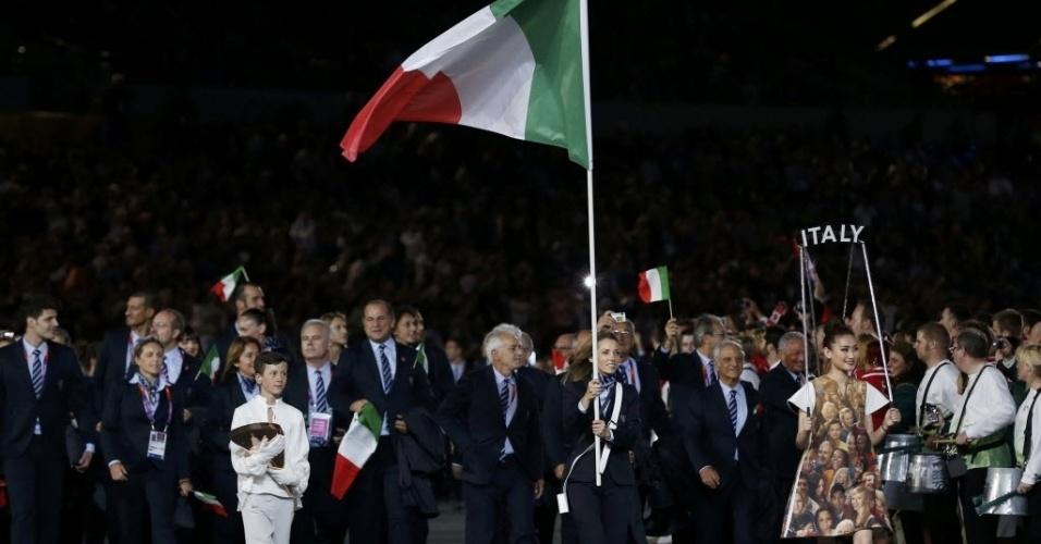 Atletas da Itália durante cerimônia de início das Olimpíadas de Londres