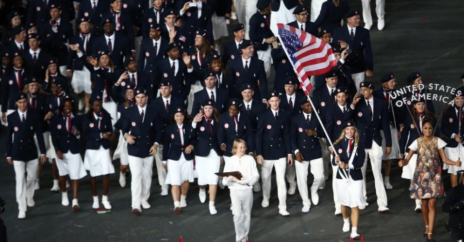 Delegação dos Estados Unidos desfila durante cerimônia de abertura dos Jogos Olímpicos de Londres