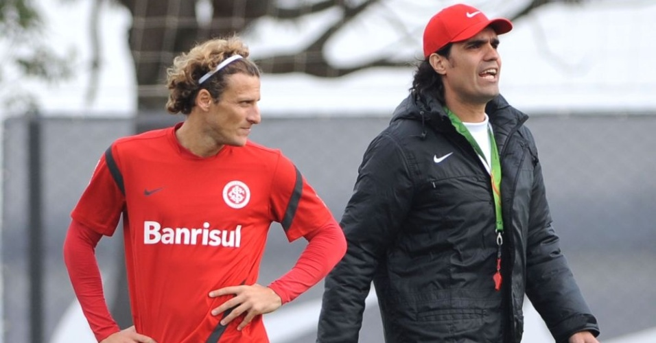 Diego Forlán e Fernandão durante treino tático do Inter no CT do Parque Gigante (27/07/12)