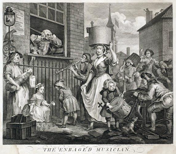 Durma-se com um barulho desses! Ou melhor, componha-se com essa confusão! É o que só pode estar pensando o músico furioso, que é o tema dessa gravura de William Hogarth, pintor e gravurista que dominou o cenário das artes plásticas inglesas na primeira metade do século XVIII. Hogarth gostava da sátira e da caricatura e fez vários desenhos que tinham sequências, compondo pequenas histórias. Por isso, ele é considerado um pioneiro das histórias em quadrinhos.
