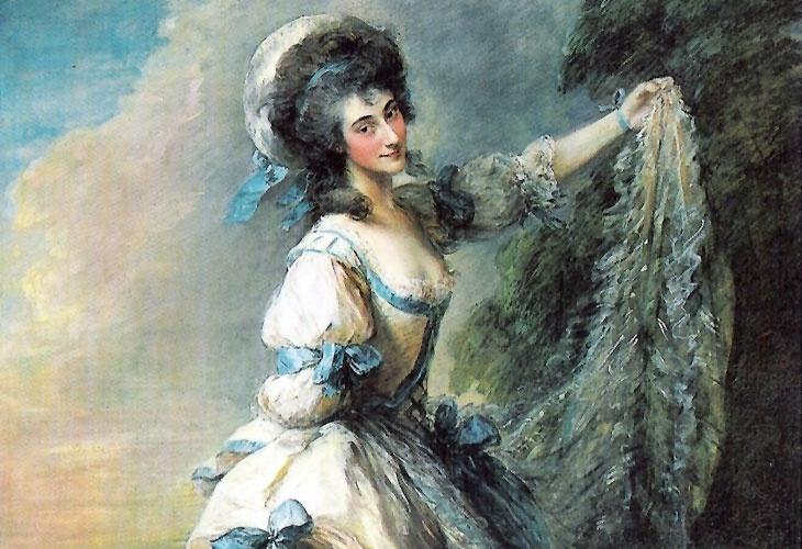 Em matéria de retratos, poucos pintores ingleses fizeram tanto sucesso quanto Thomas Gainsborough, que rivalizava com Joshua Reynolds na preferência da nobreza e a da burguesia de seu país. Ser retratado por Gainsborough era privilégio dos poucos. Acima, um detalhe do retrato da italiana Giovanna Baccelli, primeira bailarina do King's Theatre de Londres, em 1782, uma espécie de pop-star inglesa do século XVIII.