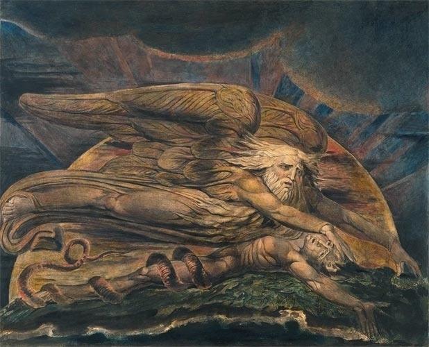"""No início do século XIX, o Romantismo teve grande desenvolvimento, tanto na Inglaterra quanto na Escócia. Dos românticos ingleses, William Blake se destacou tanto na literatura quanto nas artes plásticas. Foi poeta e prosador de reconhecida importância e, na pintura e na ilustração de obras literárias, desenvolveu um trabalho original, como se vê nesse """"Eloin criando Adão"""". Blake gostava dos temas bíblicos, que usava para criticar a Igreja Anglicana."""
