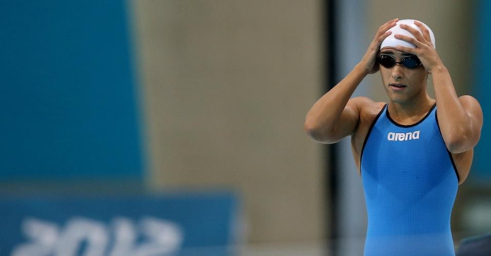 Daynara de Paula decepcionou e terminou sua bateria na eliminatória dos 100m borboleta na última posição com tempo de 1min00s14