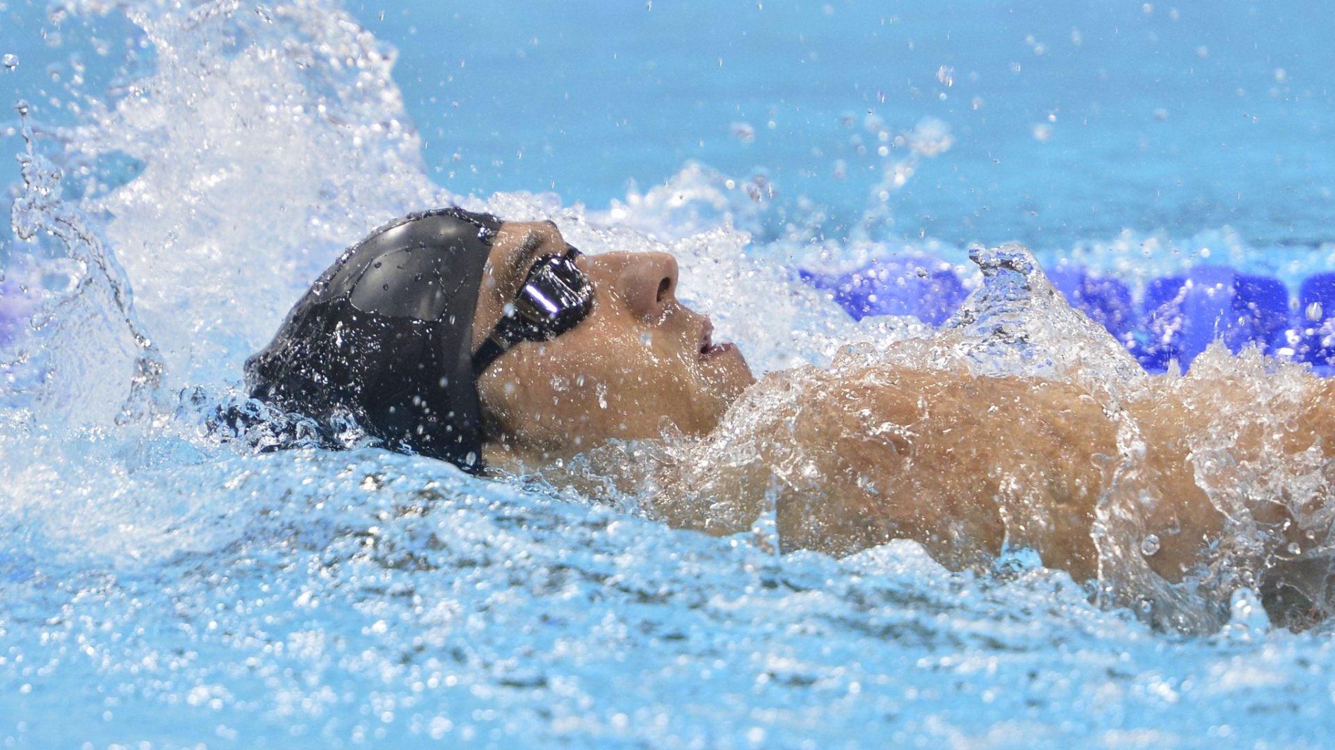 Michael Phelps durante final dos 400m medley masculino; o norte-americano ficou fora do pdio, ao terminar a prova em quarto lugar