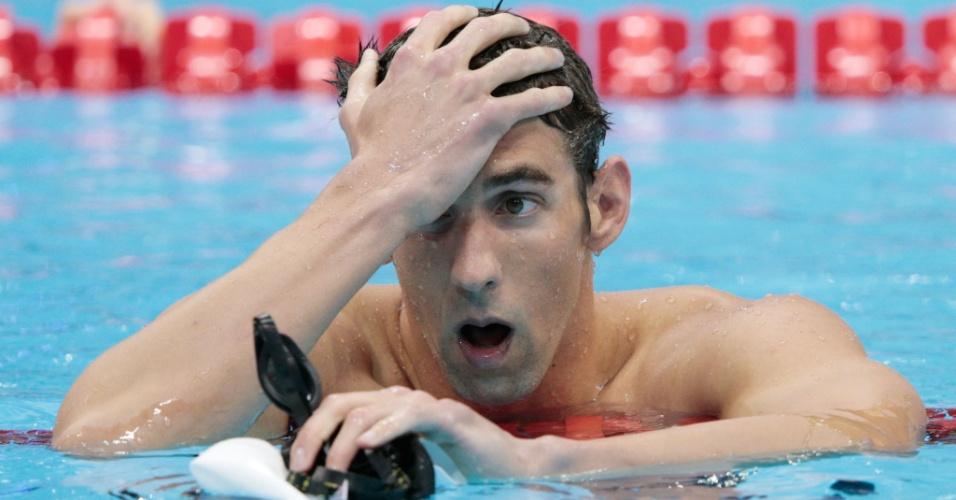 Michael Phelps lamenta quarto lugar nos 400 m medley nos Jogos Olímpicos de Londres