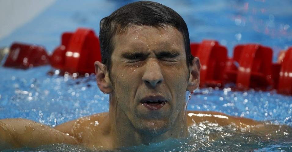 Phelps no gosta de seu resultado na prova dos 400 m medley em Londres
