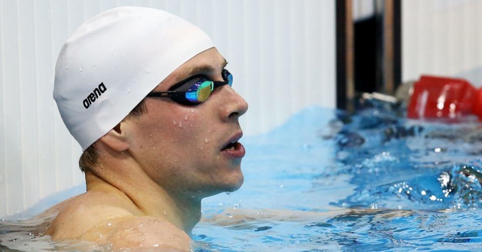 Alemão Paul Biedermann aguarda seu resultado na eliminatória dos 200 m livre no segundo dia da natação olímpica em Londres (29/07/2012)