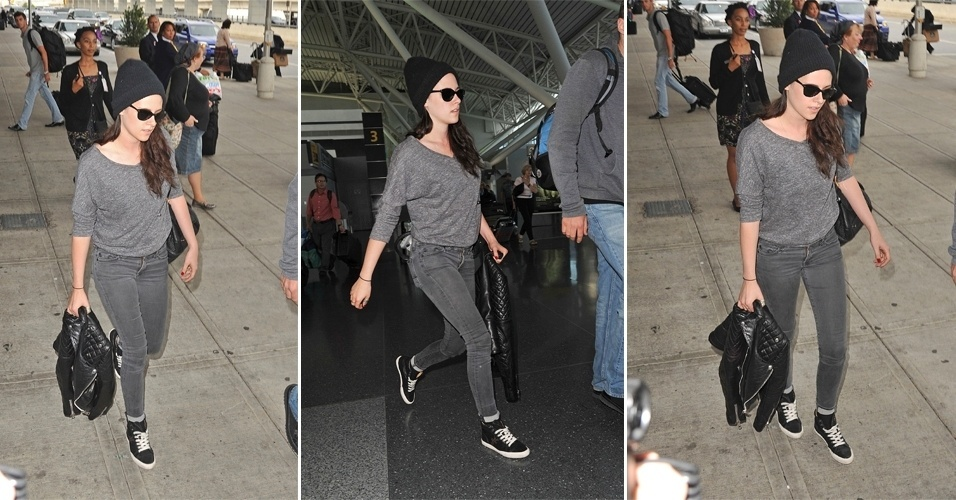 Kristen Stewart em look casual ap&#243;s pousar no JFK, aeroporto internacional de Nova York