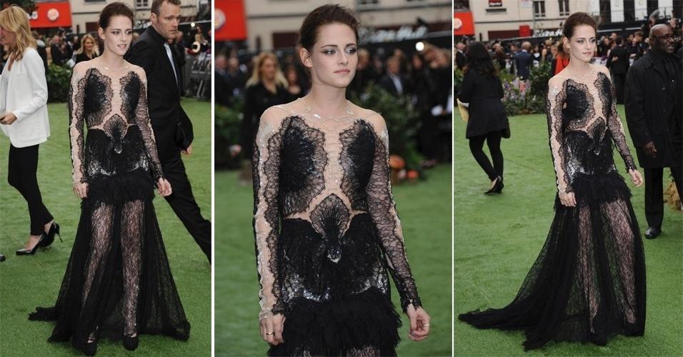 """Na pré-estreia mundial de """"Branca de Neve e o Caçador"""", Kristen Stewart optou por longo preto rendado com transparência"""