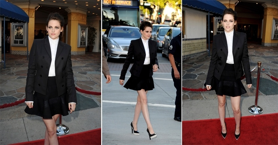 """Saia e blazer no look de Kristen Stewart no lançamento do clipe """"My Valentine"""", de Paul McCartney"""