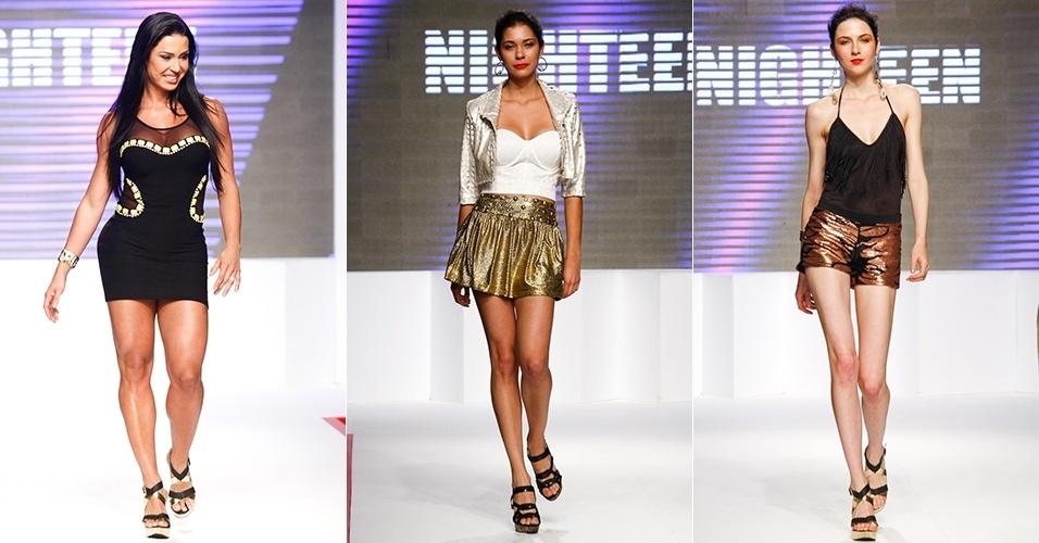 Looks da Nighteen para o Verão 2013 no Mega Polo Moda, em São Paulo, com Gracyanne Barbosa (31/07/2012)