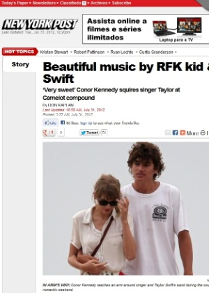 Na imagem, o &#34;New York Post&#34; publicou foto de Taylor Swift e Conor Kennedy juntos (31/7/12)