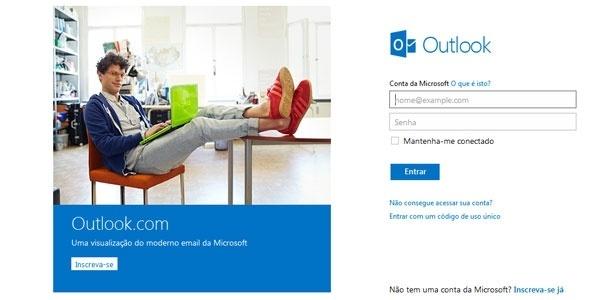 Usuário pode acessar o serviço com login e senha do Hotmail ou criar novo endereço