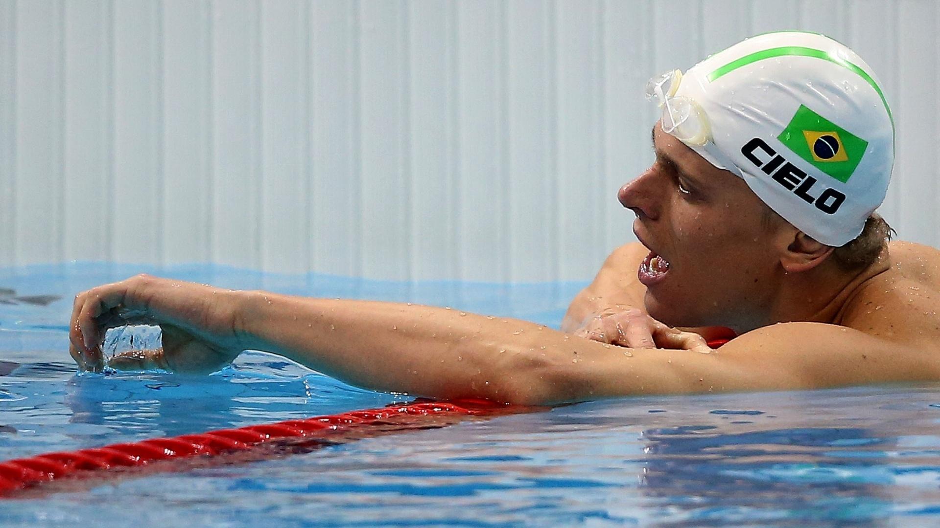 Cesar Cielo mostra cansaço após a disputa da final dos 100 m livre em Londres