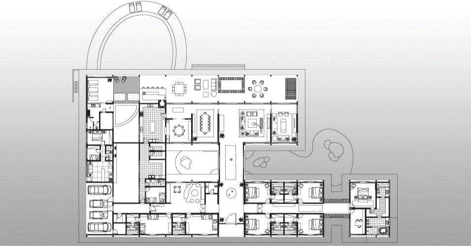 Dividida em dois grandes blocos - um social e outro íntimo - a Casa H conta com um lago entre os volumes e uma piscina no limite da varanda da fachada principal