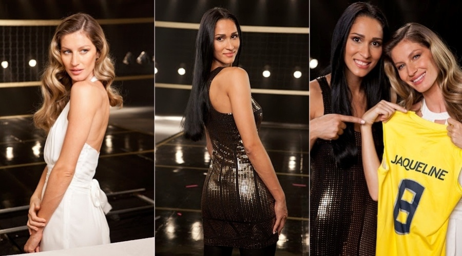 Gisele Bündchen e a jogadora de vôlei Jaqueline Carvalho gravaram campanha para marca de cosméticos (1/8/12)
