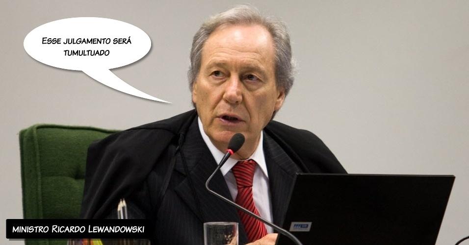 """02.ago.2012 - Após o primeiro bate-boca com Joaquim Barbosa, o ministro Ricardo Lewandowski diz que Barbosa dá indícios de que """"julgamento será tumultuado"""""""