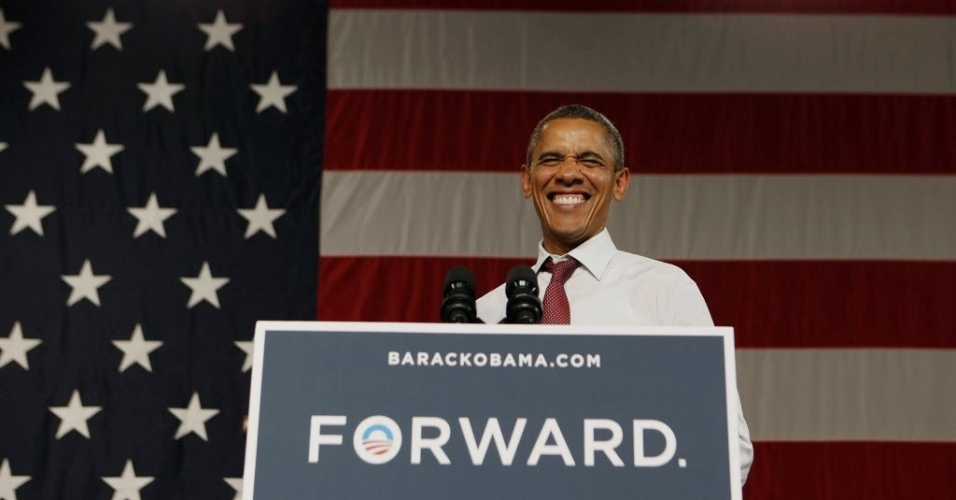 2.ago.2012 - Presidente dos Estados Unidos e candidato à reeleição, Barack Obama, discursa para apoiadores em Orlando, na Flórida (EUA)