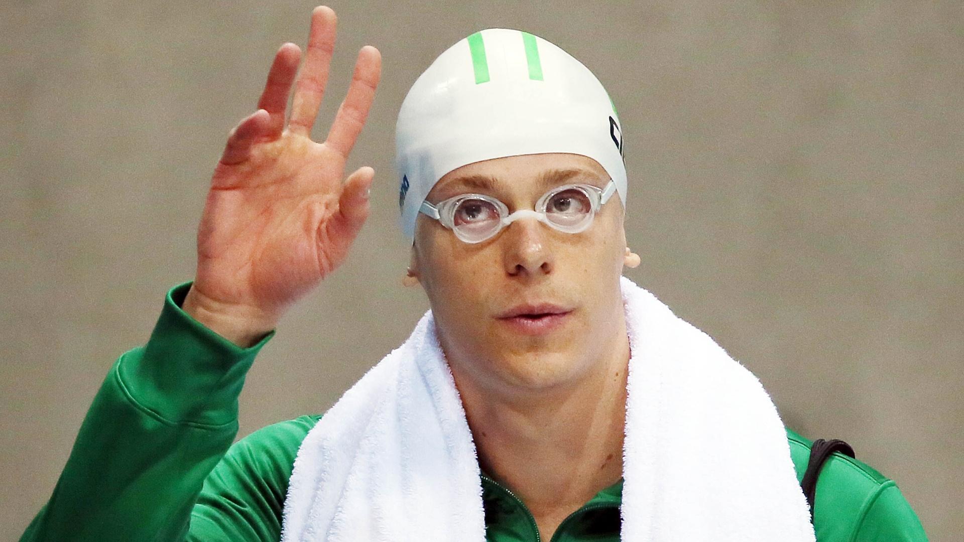 Cesar Cielo é apresentado antes de disputar a semifinal dos 50 m livre, em Londres