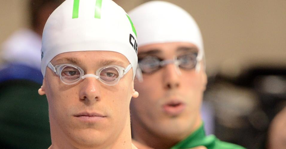 Cesar Cielo e Bruno Fratus se preparam para eliminatória dos 50m livre em Londres