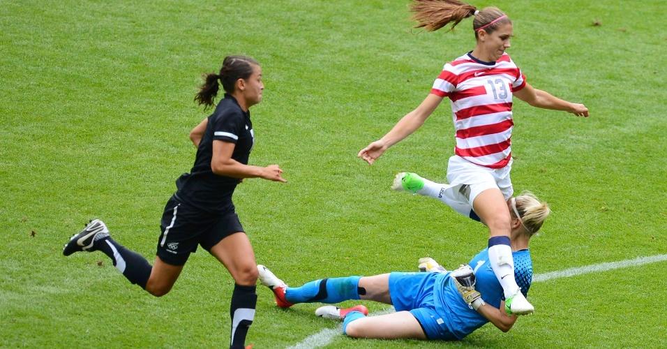 03.ago.2012 - Alex Morgan, dos Estados Unidos, dá joelhada no rosto da goleira da Nova Zelândia, Jenny Bindon