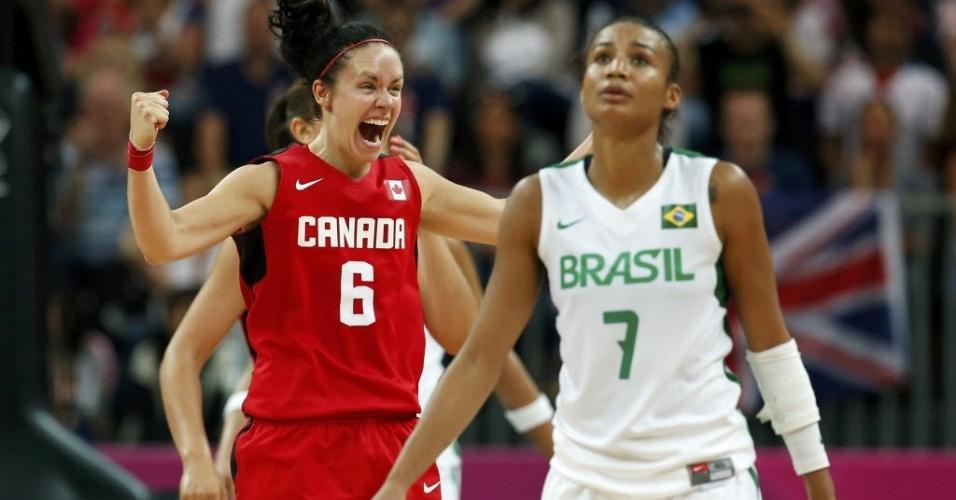 Joice mostra tristeza, enquanto jogadora canadense vibra após a vitória sobre o Brasil