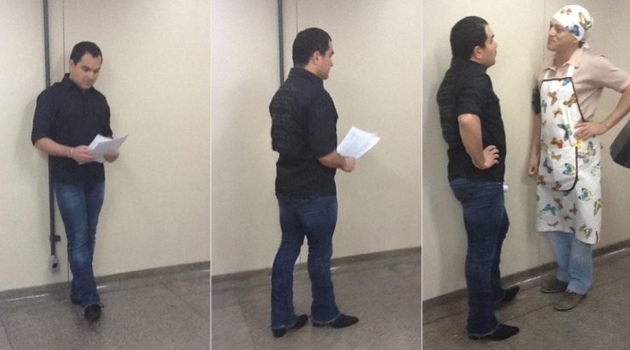 Luciano voltou ao trabalho após ter tido uma crise de gastroenterite. Ele gravou participação na novela