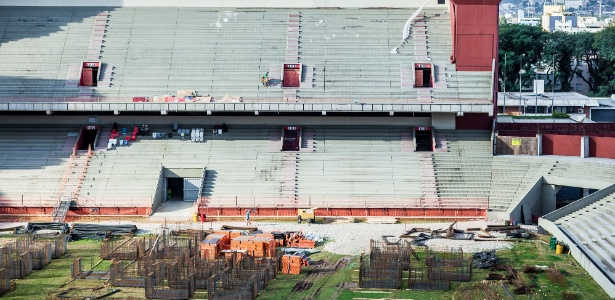 A Arena da Baixada receberá quatro jogos da Copa. A reforma alcançou 14,3% no fim de julho