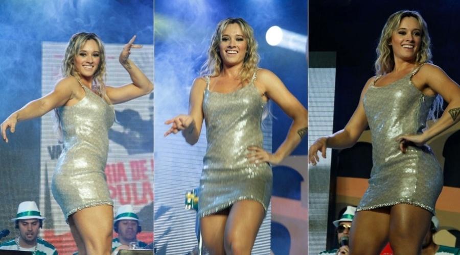 Juju Salimeni participou da gravação do novo CD e DVD da escola de samba Mancha Verde, em São Paulo (4/8/12)
