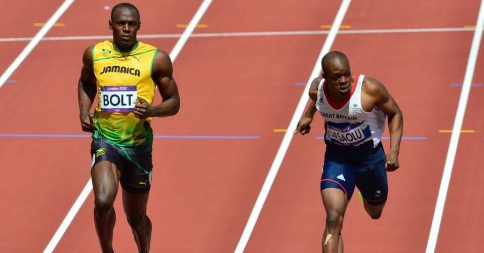 Usain Bolt se soltou no final das eliminatórias dos 100 m rasos