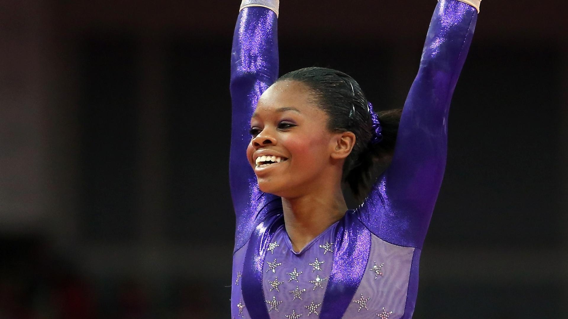 As norte-americanas da ginástica artística não apelaram ao patriotismo e usaram cores diferentes nos vários dias em que atuaram. Nas eliminatórias, toda a equipe, incluindo Gabby Douglas (f), se apresentou de roxo